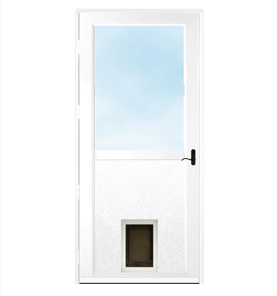 White storm door with dark hardware and a pet door.