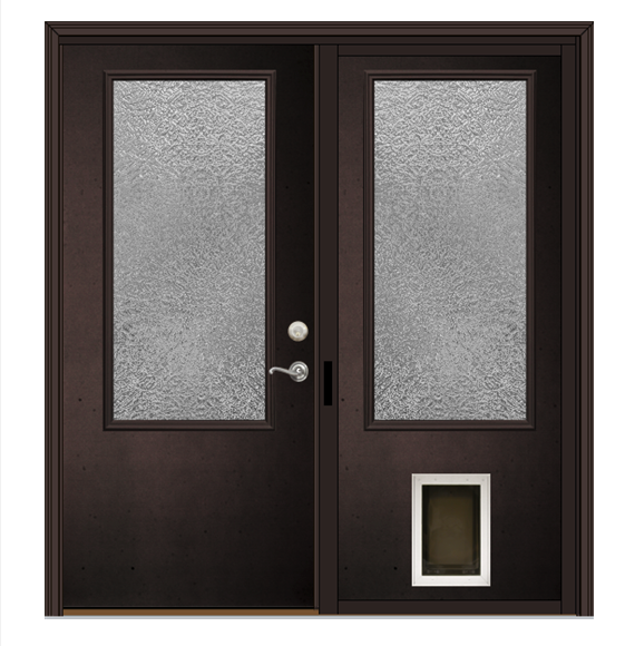 Double patio door with gray hardware, privacy glass, and a dog door.