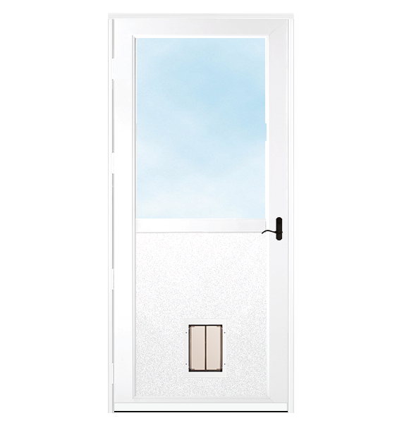 White storm door with dark hardware and plexidor pet door.