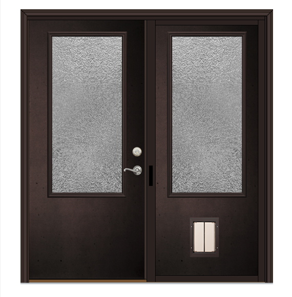 Dark bronze double patio doors with gray hardware and plexidor dog door.