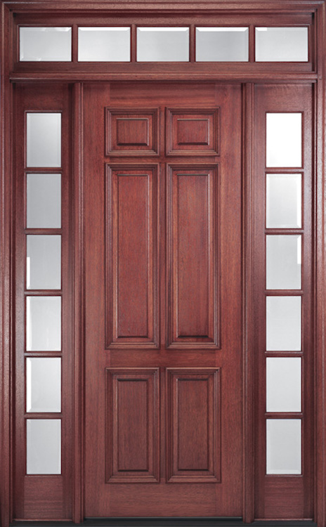 Elegant front door panel with sidelites and transom, no hardware.