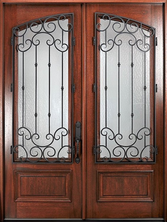 Elegant and decorative front doors with iron hardware and privacy glass.