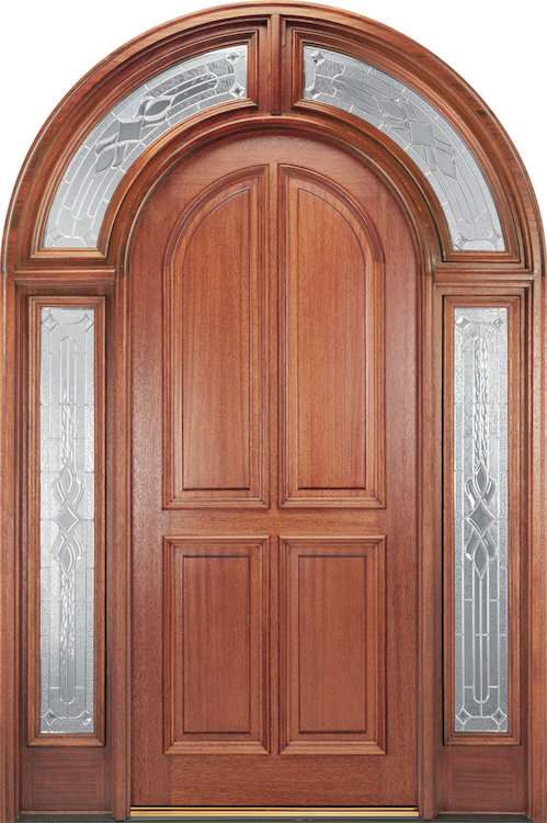 Arched-top wood front door with sidelites and arch transom.