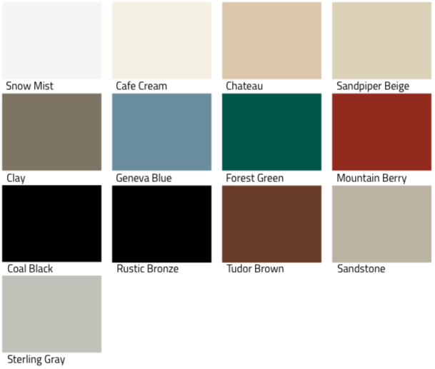 Color swatches for ProVia storm doors: Snow Mist, Cafe Cream, Chateau, Sandpiper Beige, Clay, Geneva Blue, Forest Green, Mountain Berry, Coal Black, Rustic Bronze, Tudor Brown, Sandstone, Sterling Gray.