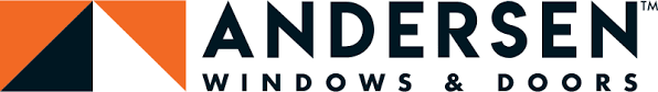 Andersen windows and doors logo featuring orange, black and white vector