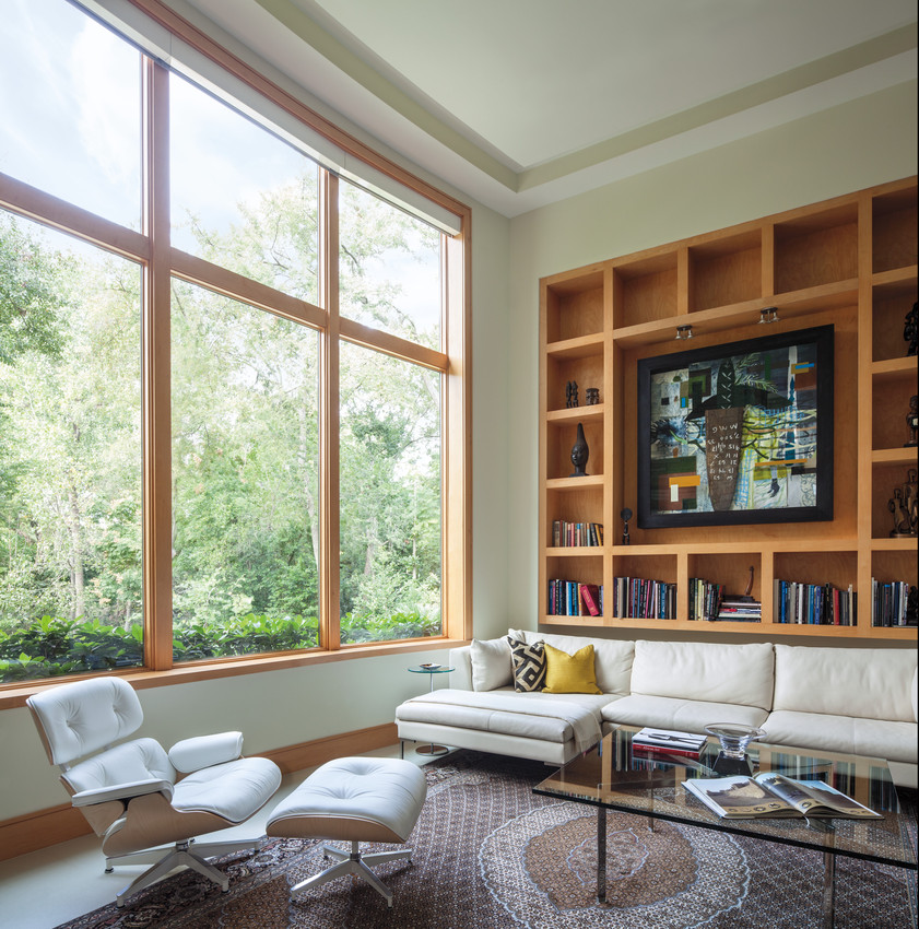 Andersen E Series Wood Clad Windows With Stained Wood Interior.