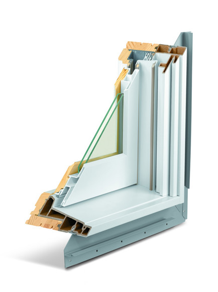 Andersen A Series fibrex, fiberglass, and wood window corner cut in white with double pane glass.