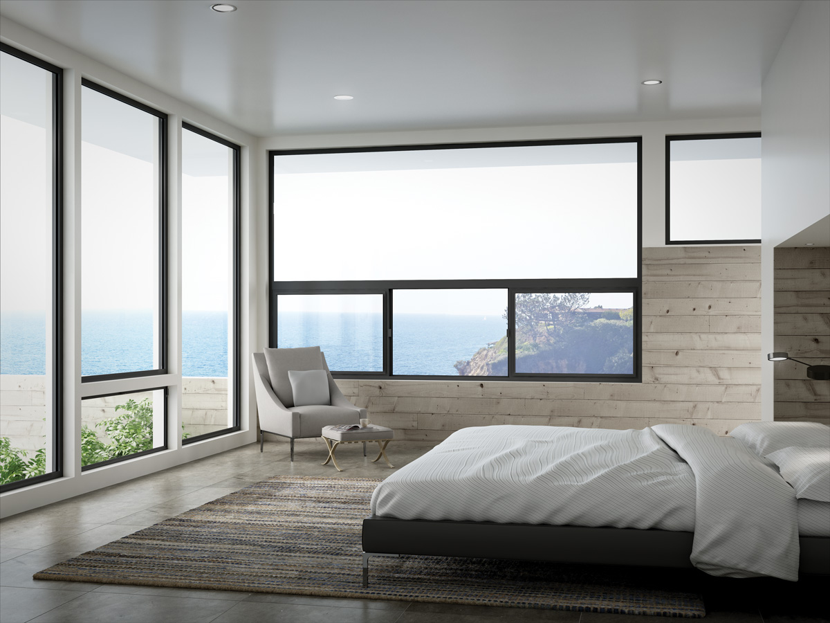 Example of aluminum windows. This image features windows from the Milgard Aluminum Series.