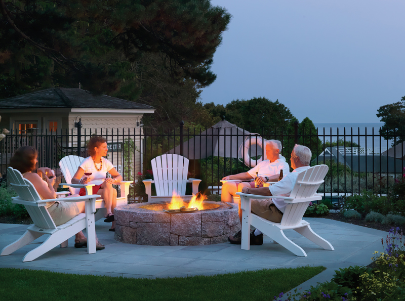 outdoor fire-pit with seating