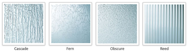 Andersen patterned glass options include: Cascade, Fern, Obscure, Reed.