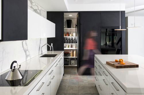 mix white and black kitchen cabinets