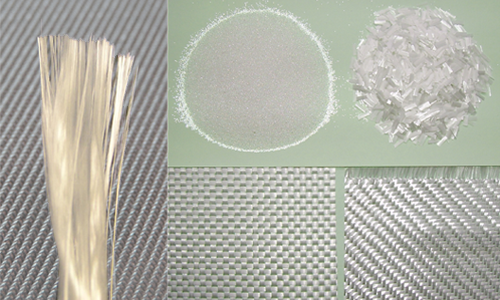 Image of glass fibers in different forms.