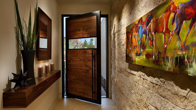 Pivot door entrance example photo.