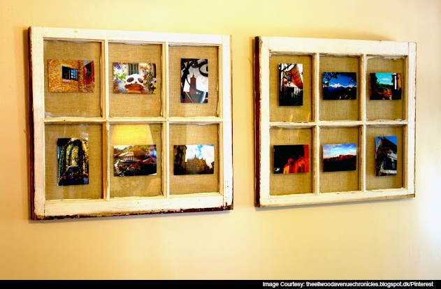 Recycle old window frames into something quirky and new like picture frames.