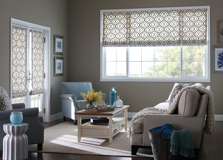 Roman shades from Budget Blinds