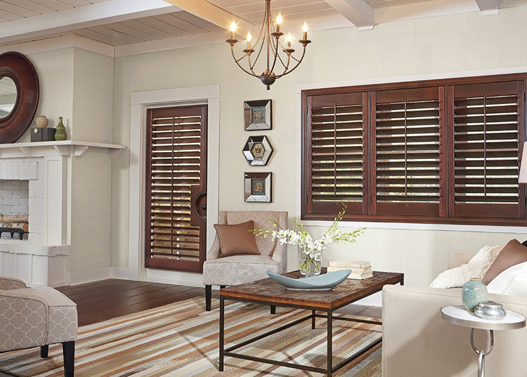Wood shutters from budget blinds in Dallas, Texas.