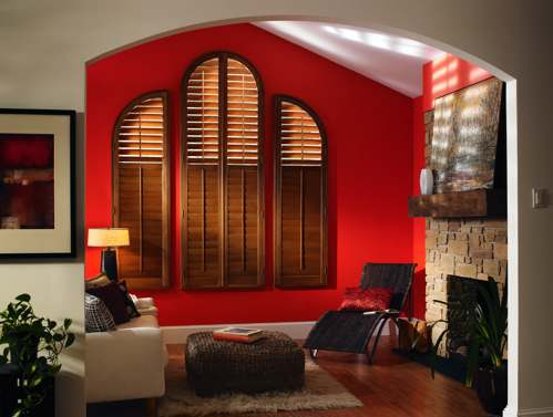 Arched wood window shutters from Trinity Uptown in Fort Worth, Texas