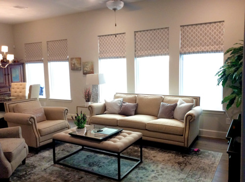 Roman shades from JDX Blinds and Curtains in Dallas, Texas.