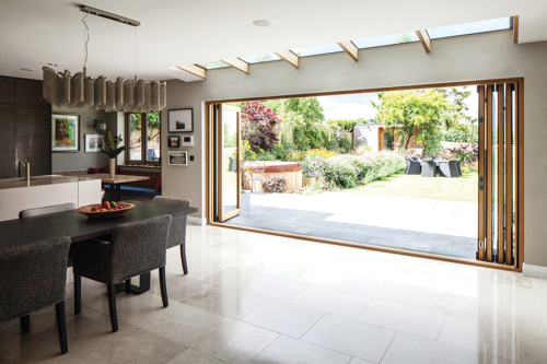 Fully open Centor Integrated Folding Doors.