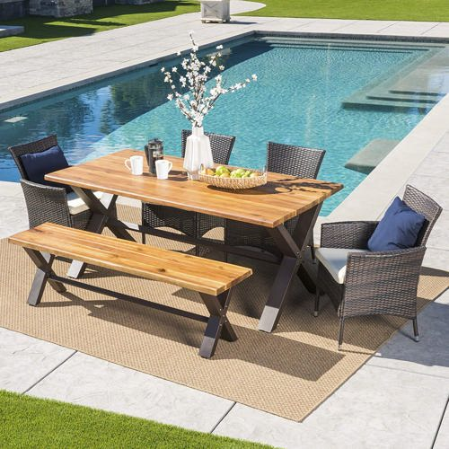 Arbus outdoor 6-piece dining set with cushions from Birch Lane