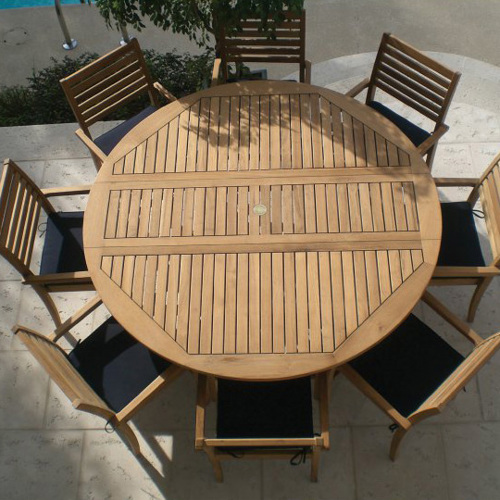 Royal Teak Round Table with seating for 8 from hayneedle