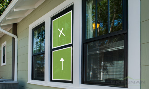 Single-hung windows have one operational sash meaning the top section is fixed and the bottom can be moved up and down to open. | Brennan Enterprises