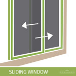 Illustration of a sliding window. Sliding windows, also referred to as gliding windows, move along a horizontal rail.