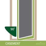 Illustration of a casement window. Casement windows are similar to awning windows and are hinged on one side and open at a 90 degree angle.