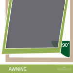 Awning style windows are hinged along the top and open at a 90 degree angle.