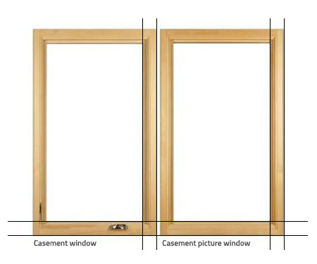Illustration of a casement window and casement picture window for comparison. Brennan Enterprises is a window replacement company in North Texas.