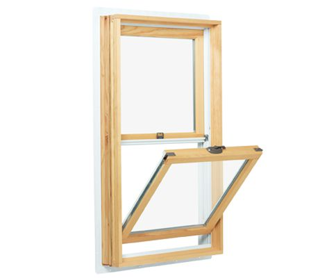 An unfinished pine double-hung window with an open bottom tilt-in sash