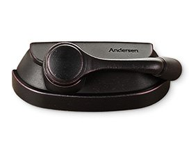 Andersen A Series and 400 Series hardware in dark brown finish.