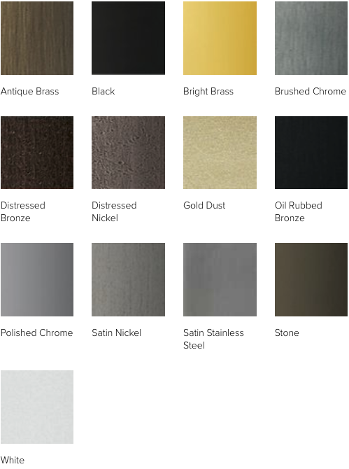 Hardware finishes for Andersen A-Series windows: Antique Brass, Black, Bright Brass, Brushed Chrome, Distressed Bronze, Distressed Nickel, Gold Dust, Oil Rubbed Bronze, Polished Chrome, Satin Nickel, Satin Stainless Steel, Stone, White.