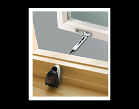 An open Andersen A Series casement window with opening control device.
