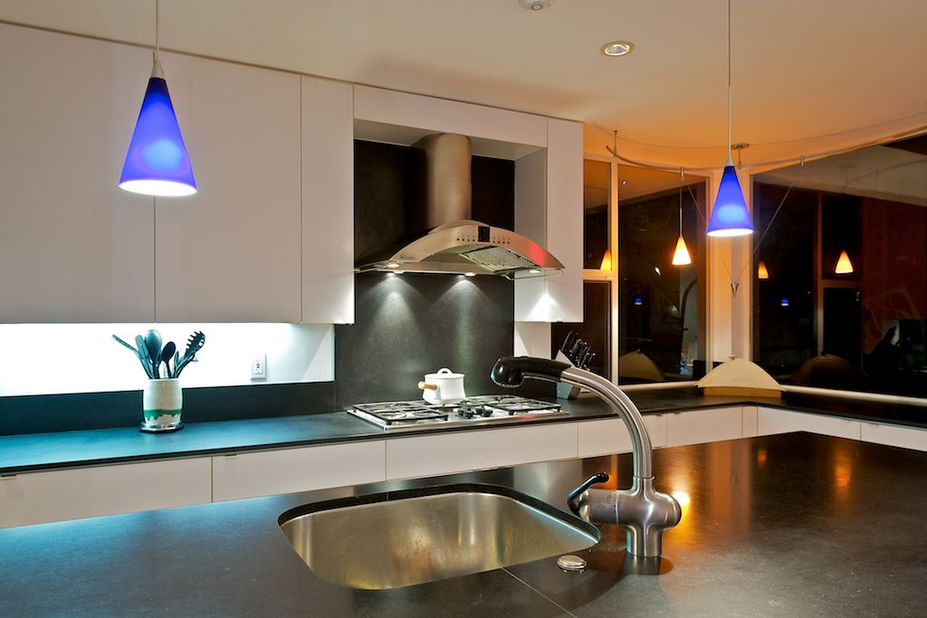 Modern kitchen lighting design.