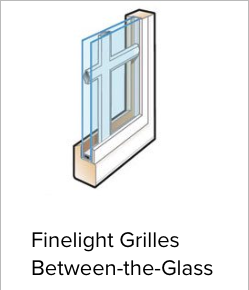 Illustration of Andersen's Finelight Grilles Between-the-Glass. This option places the grilles between the class for easy cleaning.