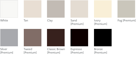 Milgard Style Line and Tuscany window exterior color options. Color options include: White, Tan, Clay, Sand (premium option), Ivory (premium option), Fog (premium option), Silver (premium option), Tweed (premium option), Classic Brown (premium option), Espresso (premium option), Bronze (premium option).