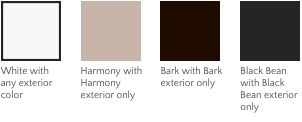 Interior paint options for Milgard Ultra replacement windows: White, Harmony, Bark, Black Bean.