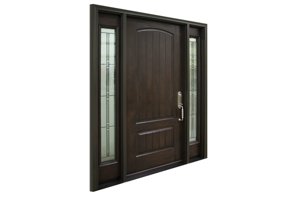 Dark stain ProVia Embarq Door with two sidelites.