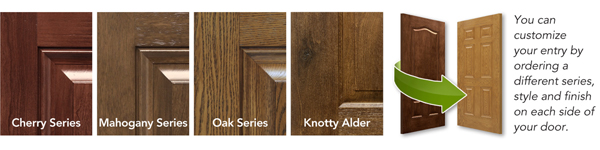You can customize your ProVia Embarq® door by choosing a different style and finish for each side of the door. Doors are available in Cherry, Mahogany, Oak, and Knotty Alder finishes.