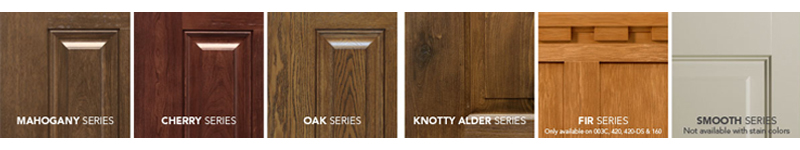 Stain options vary for ProVia Signet doors. The stains available depend on which wood grain series door you choose. Wood series are available in Mahogany, Cherry, Oak, Knotty Alder, and Fir. ProVia also offers a smooth door finish.