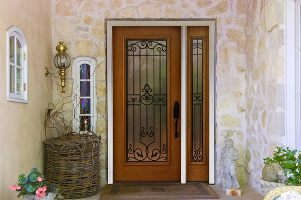 ProVia Heritage doors provide the most style options. The image featured here has dark hardware and one sidelite.