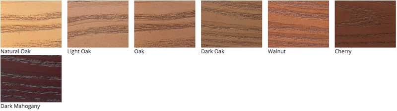 ProVia Heritge Doors are available in the following stain colors: Natural Oak, Light Oak, Oak, Dark Oak, Walnut, Cherry, and Dark Mahogany.