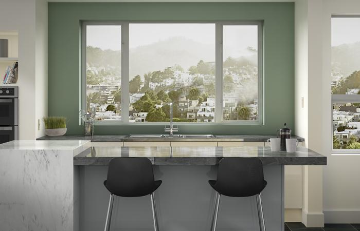 Photo of Milgard's aluminum series windows in a high-end kitchen.