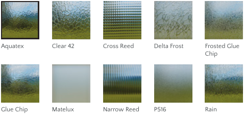 Milgard obscure glass options include: Aquatex, Clear 42, Cross Reed, Delta Frost, Frosted Glue Chip, Glue Chip, Matelux, Narrow Reed, P516, Rain.