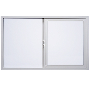 Image of Milgard's horizontal sliding window. This is a vinyl window with a slim frame profile.