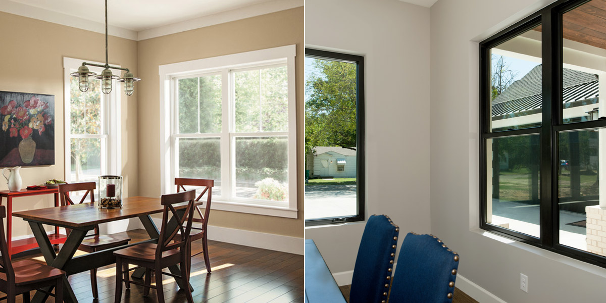 Comparison of traditional windows vs modern windows. Traditional windows tend to be in more neutral and warm colors while modern styles are bolder and cooler. Traditional window frames typically also have a casing or trim surround while modern windows go without.