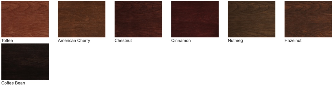 ProVia Signet stains are available in 7 options for the Cherry and Mahogany series.
