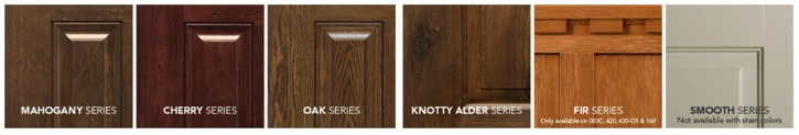 Wood series for ProVia Signet front door systems include mahogany, cherry, oak, knotty alder, and fir.