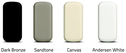 Andersen Wireless Open/Closed sensor color options: Dark Bronze, Sandtone, Canvas, Andersen White